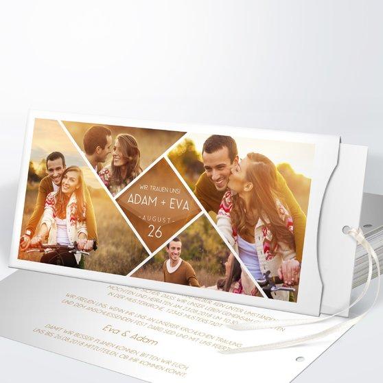 Facetten - Einsteckkarte mit Hülle 214x104 - Medium Creme