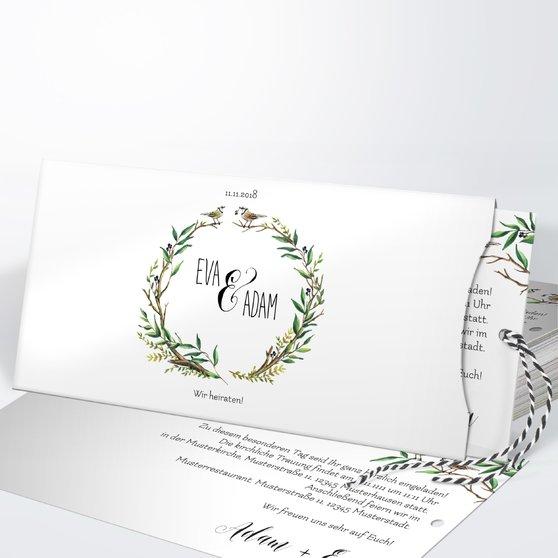 Liebesnest - Einsteckkarte mit Hülle 214x104 - Weiß