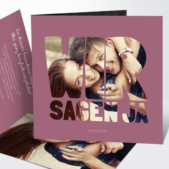 Liebe durch und durch - Quadratische Klappkarte 145x145 - Hellviolett