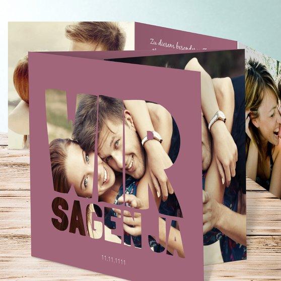 Liebe durch und durch - Doppelklappkarte 145x145 - Hellviolett
