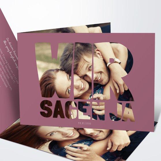 Liebe durch und durch - Horizontale Klappkarte 148x105 - Hellviolett