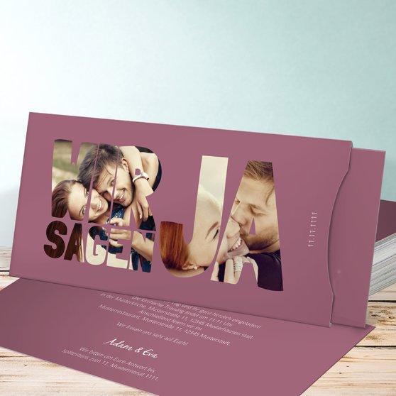 Liebe durch und durch - Einsteckkarte mit Hülle 214x104 - Hellviolett