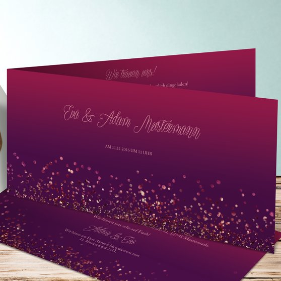 Geflitter - Horizontale Klappkarte 210x100 - Violett