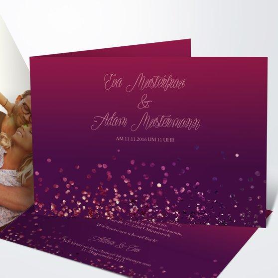 Geflitter - Horizontale Klappkarte 148x105 - Violett