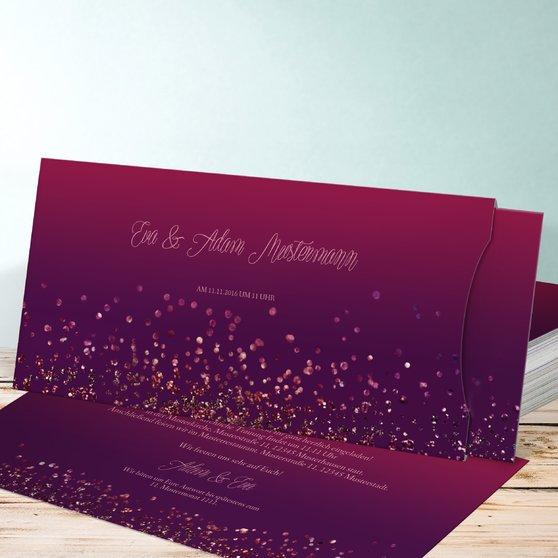 Geflitter - Einsteckkarte mit Hülle 214x104 - Violett