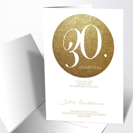 Geburtstagseinladungen - Goldpanel 30