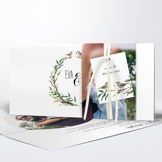 Liebesnest - Kartenset Banderole - Weiß