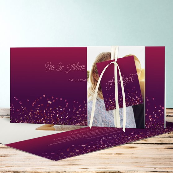 Geflitter - Kartenset Banderole - Violett