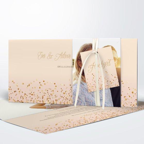 Geflitter - Kartenset Banderole - Creme