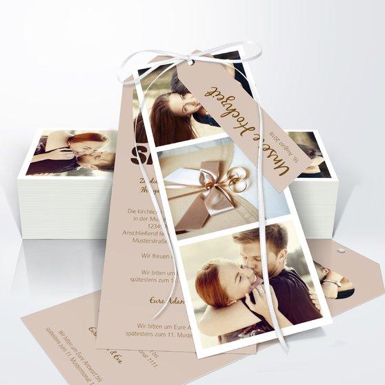 Liebe durch und durch - Kartenset Trio 90x210 - Dunkel Bisquite