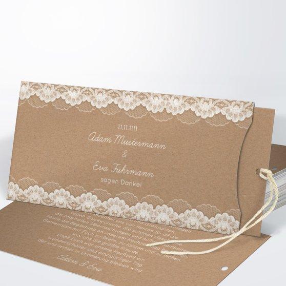 Danksagungskarte Hochzeit - Hochzeitsspitze