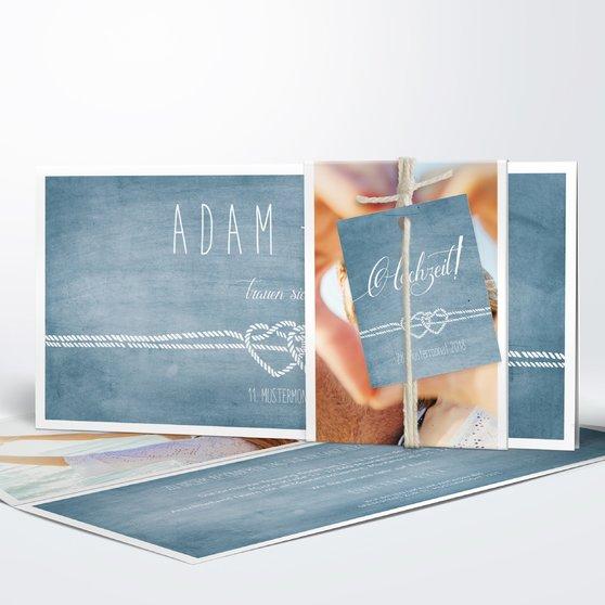 Liebesknoten - Kartenset Banderole - Feines Blau