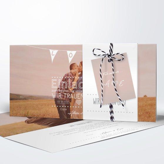 Liebeswimpel - Kartenset Banderole - Weiß
