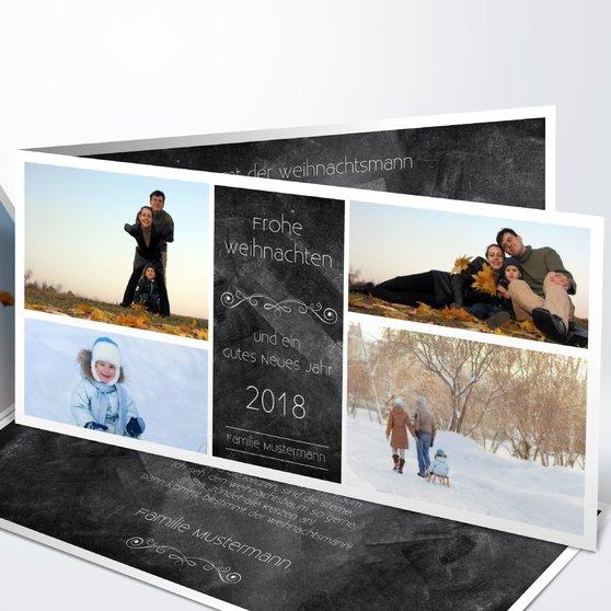 Weihnachtstafel - Horizontale Klappkarte 210x100 - Schwarz