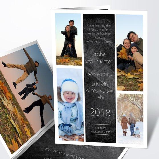 Weihnachtstafel - Vertikale Klappkarte 105x148 - Schwarz