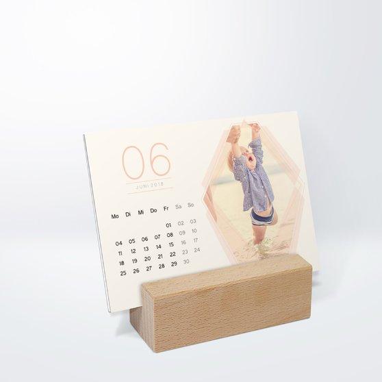 Polygon Tischkalender - 148x105 mm mit edlem Holzfuß - Weiß