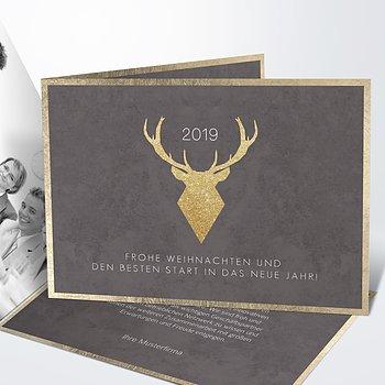 Weihnachtskarten Geschäftlich - Goldener Hirsch