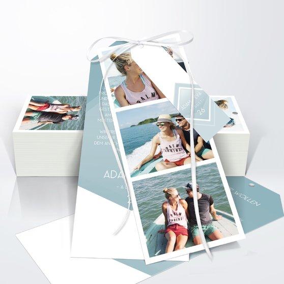Facetten - Kartenset Trio 90x210 - Blaugrau