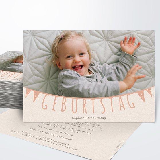Einladungen für Kindergeburtstag - Freudige Fähnchen