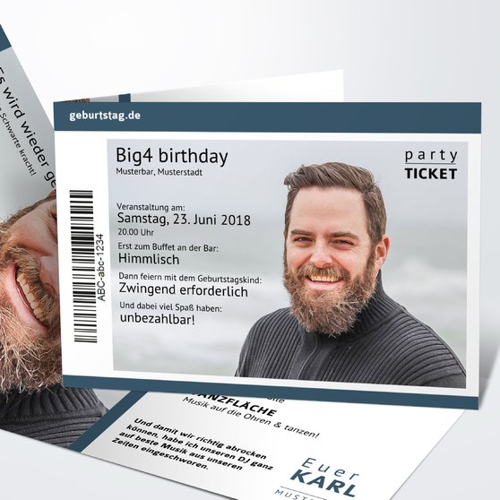 Geburtstagseinladungen - Party Ticket 40