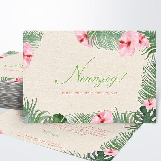 Geburtstagseinladungen - Hibiskusblüte 90
