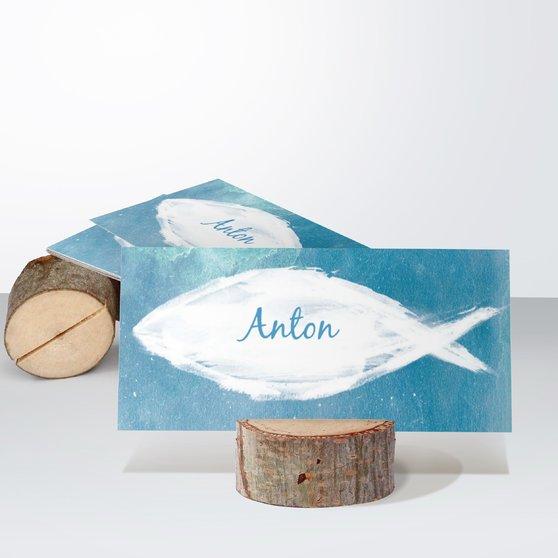 Tischkarten konfirmation fisch im wasser detail - Dekoration taufe junge ...