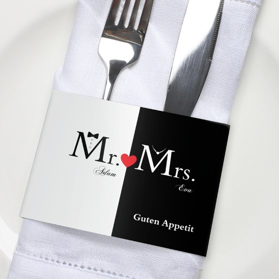 Besteckbanderolen und Serviettenanhänger - Mr & Mrs