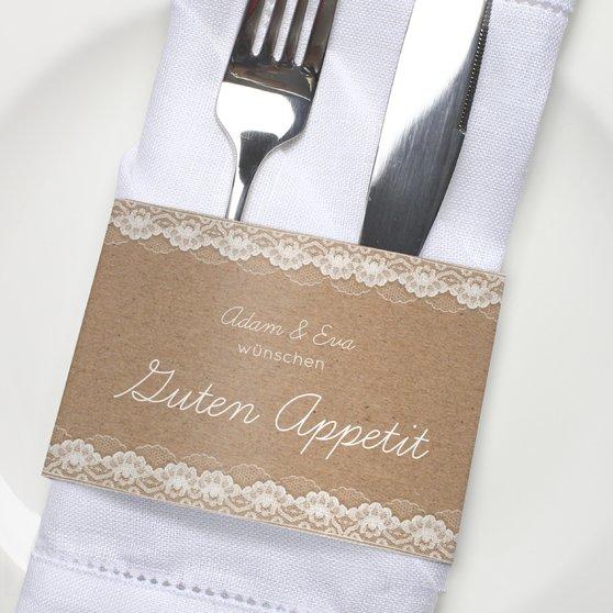 Besteckbanderolen und Serviettenanhänger - Hochzeitsspitze