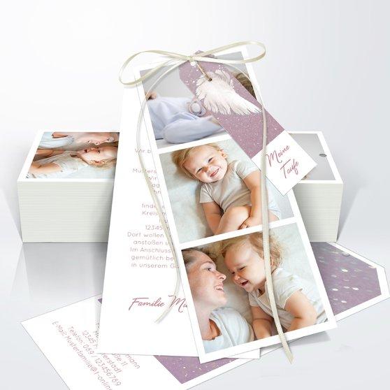 Taufkarten - Zarte Flügel Baby