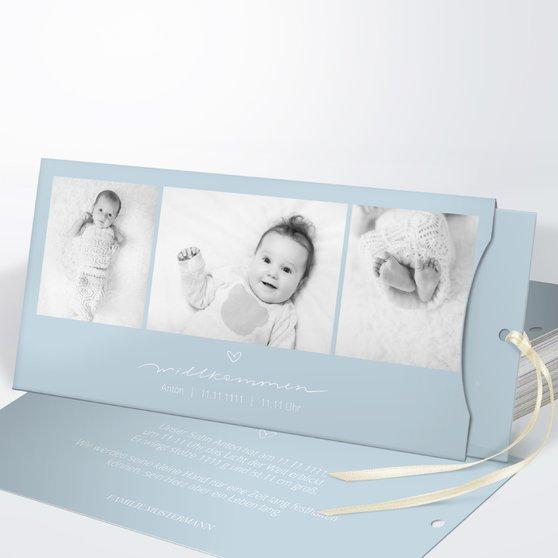 Kleiner Schatz - Einsteckkarte mit Hülle 214x104 - Puderblau