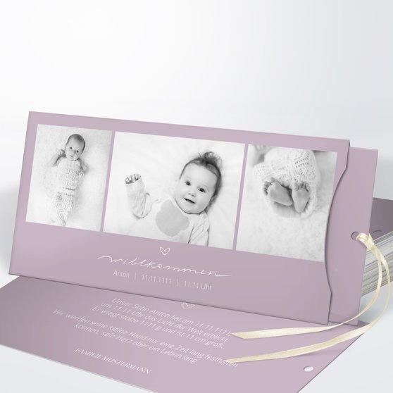 Kleiner Schatz - Einsteckkarte mit Hülle 214x104 - Grauviolett