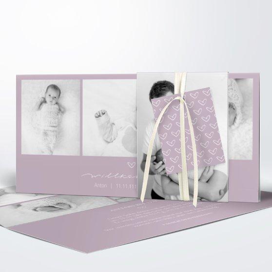 Kleiner Schatz - Kartenset Banderole - Grauviolett