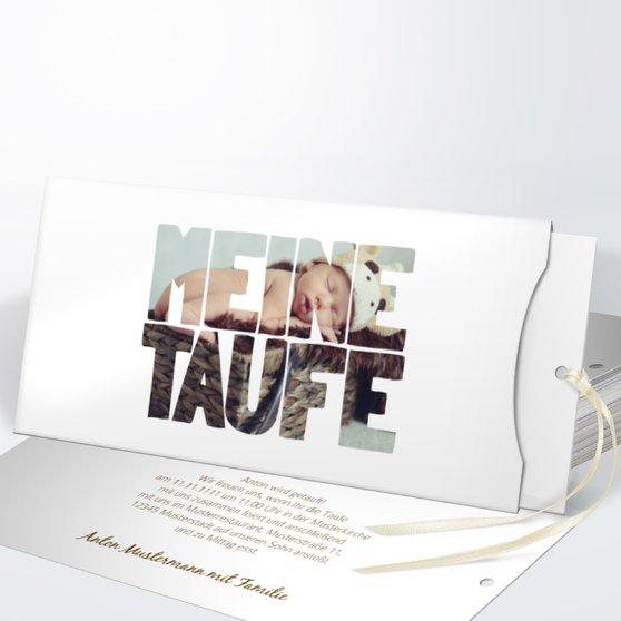 Taufe Fototext - Einsteckkarte mit Hülle 214x104 - Weiß