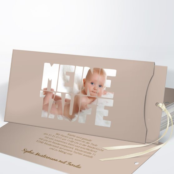 Taufe Fototext - Einsteckkarte mit Hülle 214x104 - Dunkel Bisquite