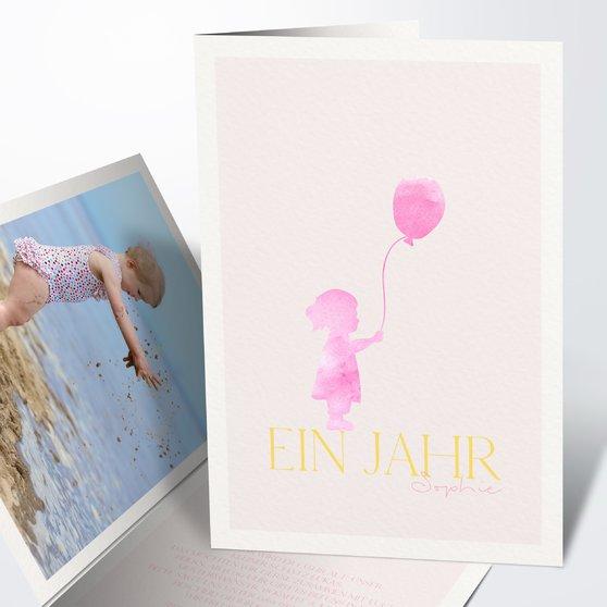 Einladungen für Kindergeburtstag - Aquarell-Ballon