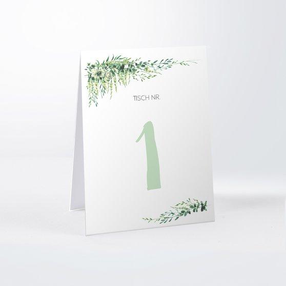 Tischnummern - Grüne Pracht