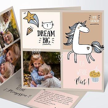 Einladungen für Kindergeburtstag - Einhorn
