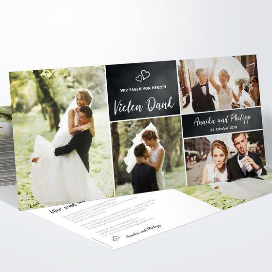 Danksagungskarte Hochzeit - Herz & Seele
