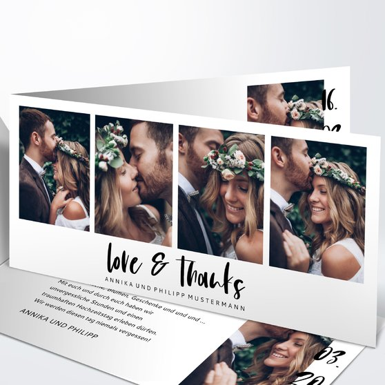 Danksagungskarte Hochzeit - Love & Thanks