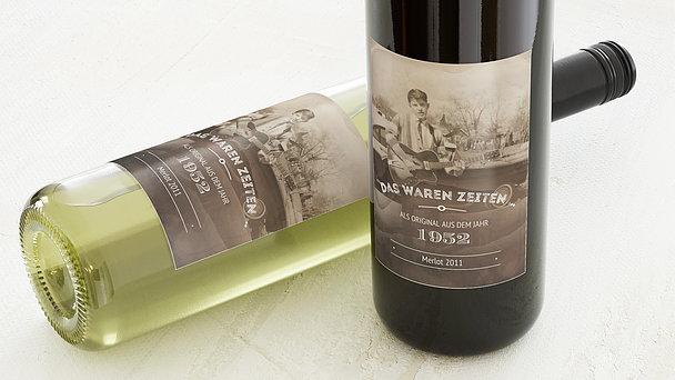 Weinetiketten Geburtstag - Alte Zeiten 70