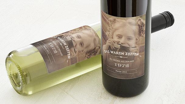 Weinetiketten Geburtstag - Alte Zeiten 50