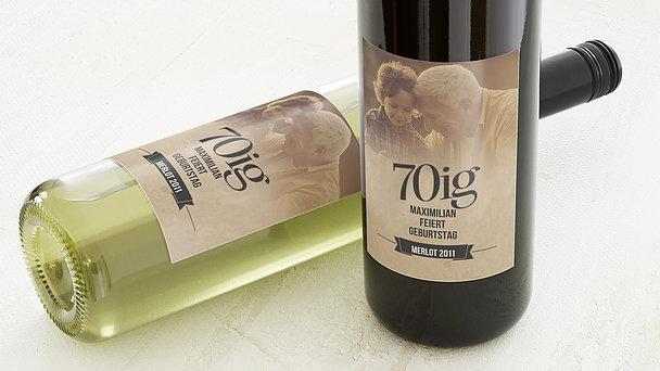 Weinetiketten Geburtstag - Retrofeier 70