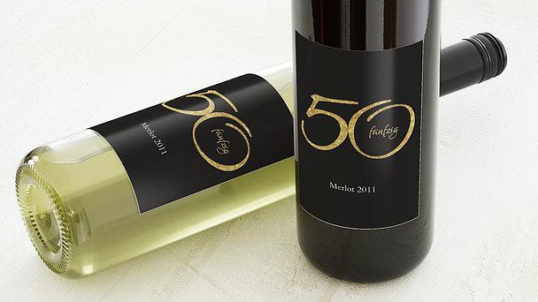 Weinetiketten Geburtstag - Glitzer 50