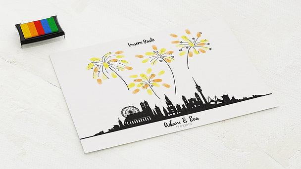 Fingerabdruckposter - Feuerwerk Skyline