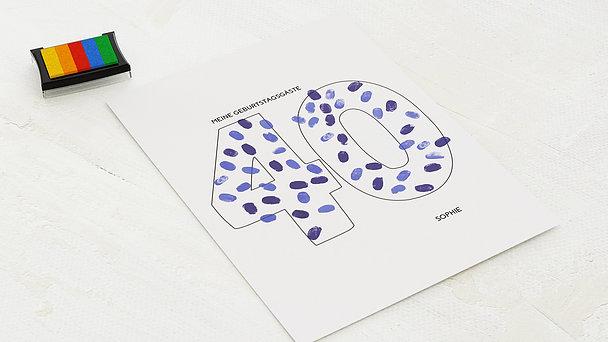 Fingerabdruckposter - Geburtstagsprint 40
