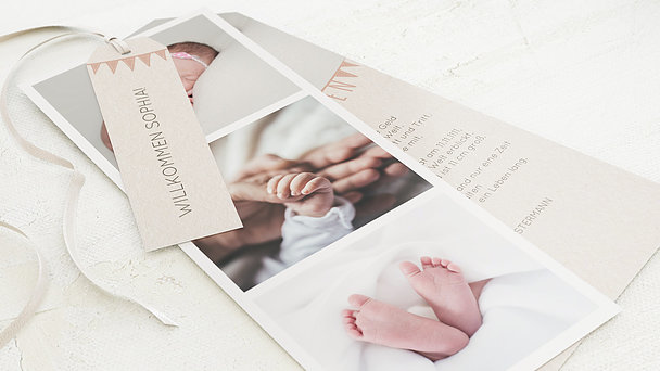 Geburtskarten - Freudige Fähnchen