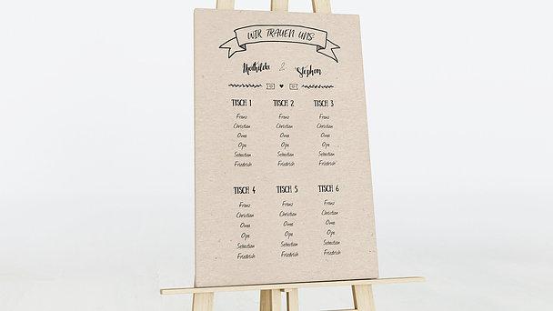 Sitzplan Hochzeit - Kraftpapier