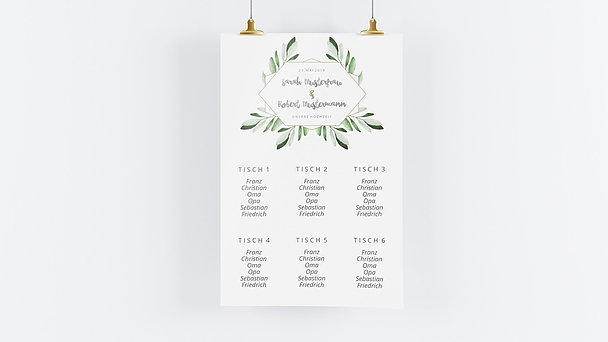 Sitzplan Hochzeit - Edles Grün
