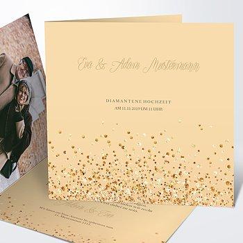 Diamantene Hochzeit Einladung - Diamant-Geflitter