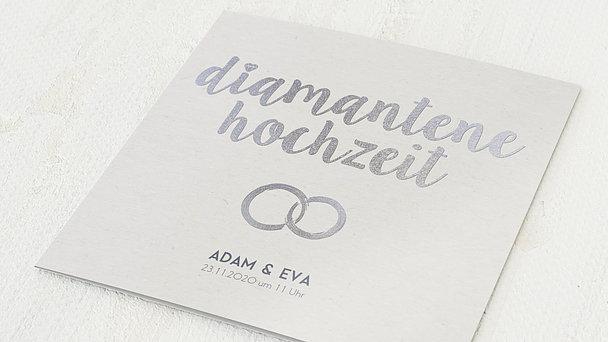 Diamantene Hochzeit Einladung - Edler Diamant